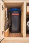 Charcoal bin and coal handling shovel